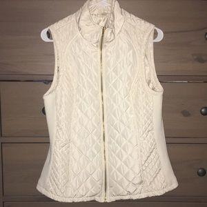 Brand new white vest with gold zipper
